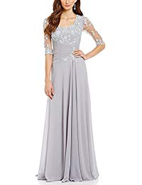 A-Line Bodice Half Sleeve Lace Appliques Mother of The Bride Dress Long Formal Evening Gown