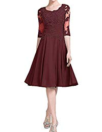 Appliques Mother of The Bride Dresses Knee Length 1-2 Sleeve Wedding Evening Gowns with Pleats