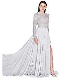 Beaded Long Sleeve A-Line Chiffon Mother of Bride-Groom Dress with Slit Style.