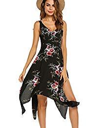 Bohemian Floral Dress Deep Vintage V-Neck Assymetrical Hem Long Dress
