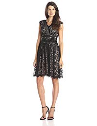 Cap-Sleeve Shirred Waist Lace Full Skirt Dress