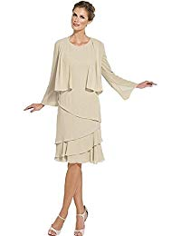 Chiffon Tea Length Grey Ivory Mother of the Bride Dresses With Jacket