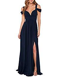 Cold Shoulder V Neck Backless Side Slit Formal Party Maxi Dress