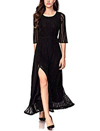 Elegant Metallic Slit Maxi Fall Evening Dress with 2-3 Sleeves