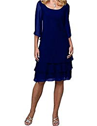 Elegant Scoop Knee Length Chiffon Mother of The Bride Dresses 2018