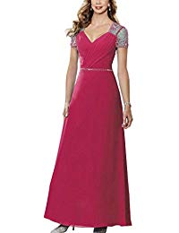 H.S.D Sequins Beads Cap Sleeves Mother of The Bride Dresses Wedding Formal Gowns