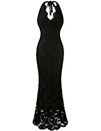 Halter V Neck Lace Mermaid Black Long Evening Dresses