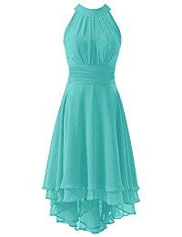 High Low Short Bridesmaid Dresses Chiffon Halter Prom Dress