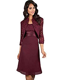 Kelaixiang Crimson Mother of The Bride Dress with Jacket Knee-Length