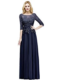 Lace Applique Chiffon 3-4 Sleeve Peplum Long Prom Dresses for Women