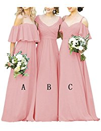 Long Chiffon Bridesmaid Dresses Ruffles Prom Evening Gowns Off-Shoulder Formal Dress