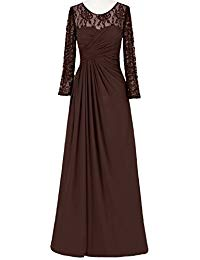 Long Chiffon Lace Mother of Bride Dress with Long Sleeves