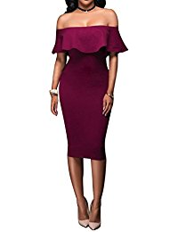 Off Shoulder Back Split Slim Fitted Cocktail Party Bodycon Midi Dress