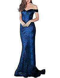 Off Shoulder Sequins Evening Dress Split Mermaid Prom Gown YPM464