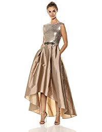 Ombre Sequin High-Low Dress with Taffeta Skirt