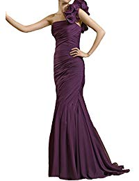 One shoulder Grape chiffon Beading Mermaid mother of the bride dress