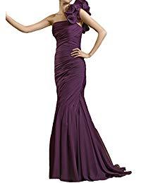 One shoulder Grape chiffon Beading Mermaid mother of the bride dress