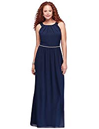 Pleated Round-Neck Plus Size Mother of Bride-Groom Gown with Bead Waist Style.