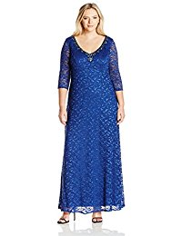 Plus-Size Long Empire Waist V-Neck Dress with Sleeves and Beaded Detail