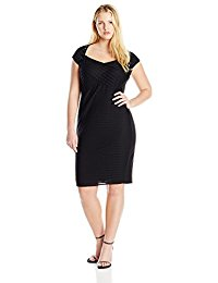 Plus-Size Mini Shutter Sheath Dress with Crepe