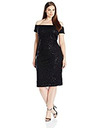 Plus-Size Off-the-Shoulder Sequin Lace Dress