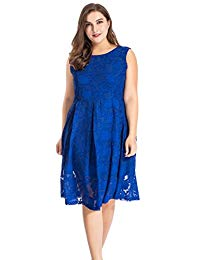 Plus Size Sleeveless Burn Out Floral Dress with Back V Neck - Knee Length Work Casual Party Cocktail Dress