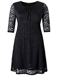 Plus Size Stretch Lace Up Neck Skater Dress - Knee Length Casual Party Cocktail Dress