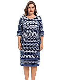 Plus Size Stretch Zigzag Printed Cashmere Touch Shift Dress - Knee Length Casual and Work Dress