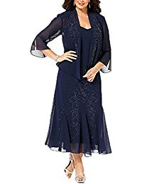 Plus Size Tea Length Mother Of the Bride Dress with Jacket