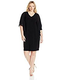 Plus-Size Tullip Sleeve Woven Short Dress