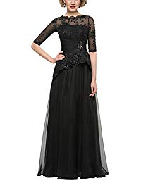 Scoop Neck Mother of The Bride Dresses Half Sleeves Formal Gown