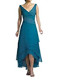 Sexy V Neck Blue Beads Pleats Chiffon Sleeveless High Low Mother of Bride Dresses Plus Size
