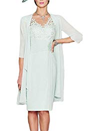 Sheath Mother Of The Bride Dress Chiffon Lace With Jacket Mother Dress