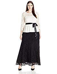 Size 3-4 Sleeve Two Tone Peplum Lace Gown Plus