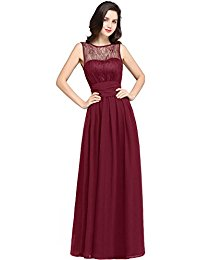 Sleeveless Floor Length Slim Lace Chiffon Evening Formal Dress