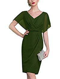 V Neck Short Mother of The Bride Dresses Evening Gown V065LF
