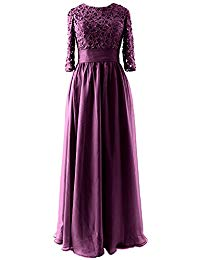 Vintage Half Sleeve Long Mother of Bride Party Dress Lace Evening Gown
