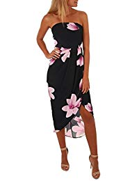 iQKA Sexy Off Shoulder Backless Bow Boho Floral Lady Beach Summer Dress
