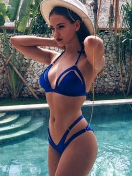 Blue Hollow Halter Bikini Set