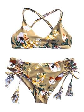 Cross Back Floral Tassel 2-Pcs Bikini Bathing Suits