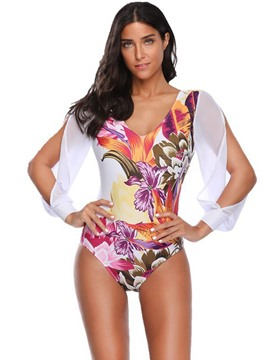 Floral Print Patchwork Sleeve Slit One Piece Swimwear