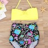 Lace-Up Print Color Block Bikini Set