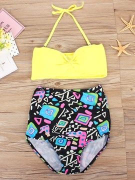 Lace-Up Print Color Block Bikini Set