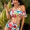 Off The Shoulder High Waist Falbala Rose Print Bikini Set