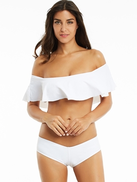 Plain Off The Shoulder Falbala Bikini Set