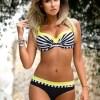 Stripe Pleated Color Block Bikini Set