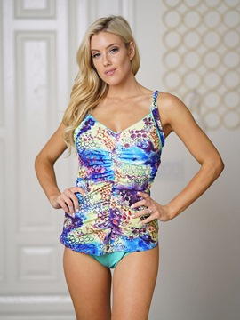 Blue Floral Pleated Tankini Suits