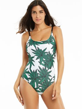 Leaf Print Hollow Spaghetti Strap One Piece Swimwear
