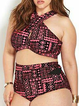 Plaid Plus Size Bikini Suit Swimwear