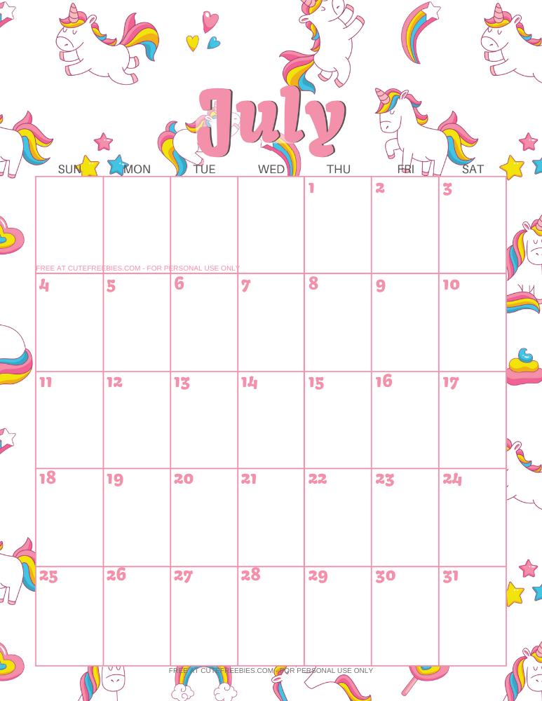 JULY-2021-CALENDAR-PRINTABLE-UNICORNS - Cute Freebies For You